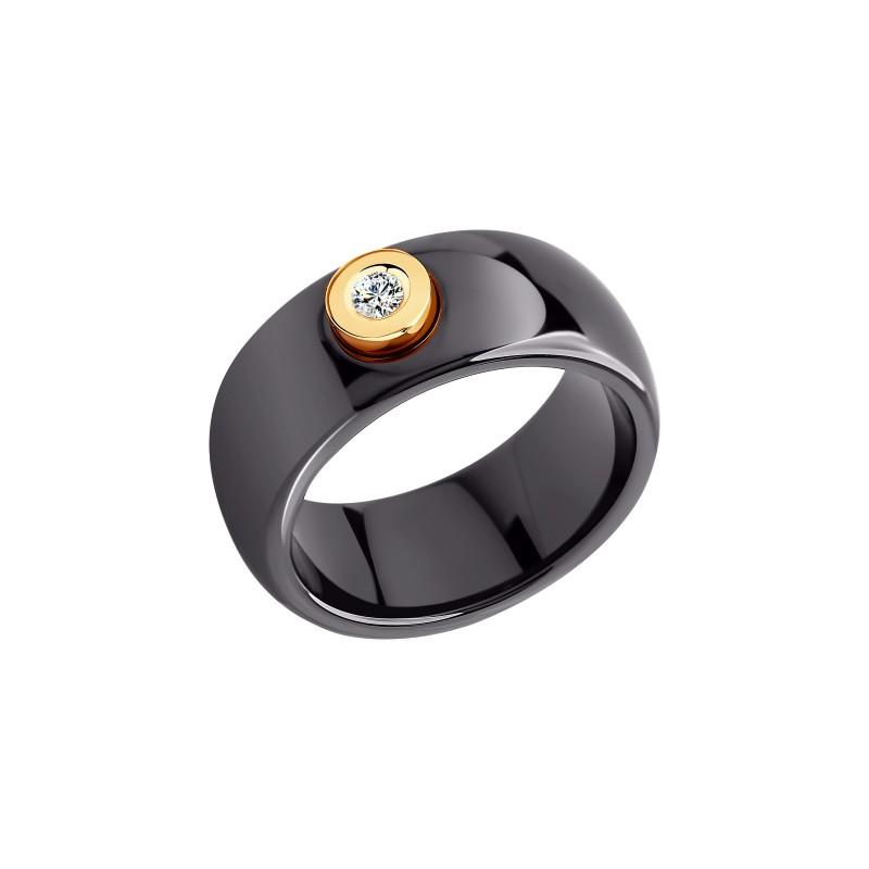 Кольцо SOKOLOV 6015006 из черной керамики с желтым золотом и бриллиантом