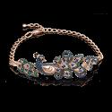Браслет 05-0555-00-404-1110-52 в виде павлина из золота с цветными фианитами, ювелирный завод ПЛАТИНА