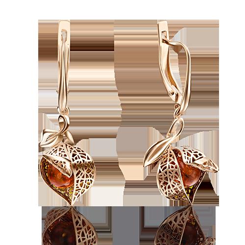 Серьги с янтарем и эмалью из золота, ювелирный завод ПЛАТИНА