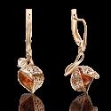 Серьги 02-4022-01-271-1110-58 с янтарем и эмалью из золота, ювелирный завод ПЛАТИНА
