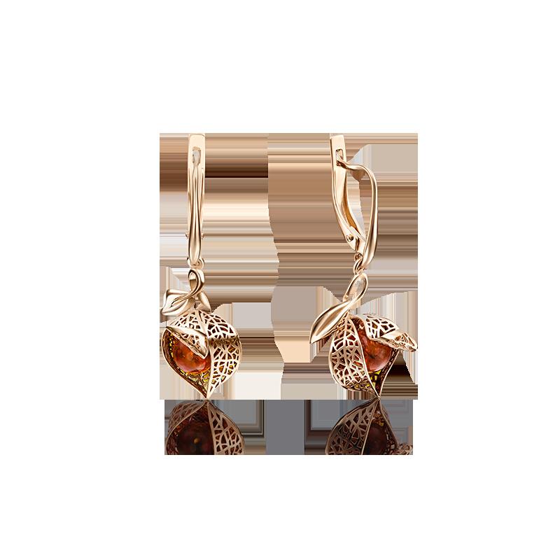 Серьги 02-4022-00-271-1110-46 с янтарем и эмалью из золота, ювелирный завод ПЛАТИНА