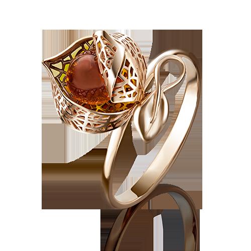 Кольцо из золота с янтарем, ювелирный завод ПЛАТИНА