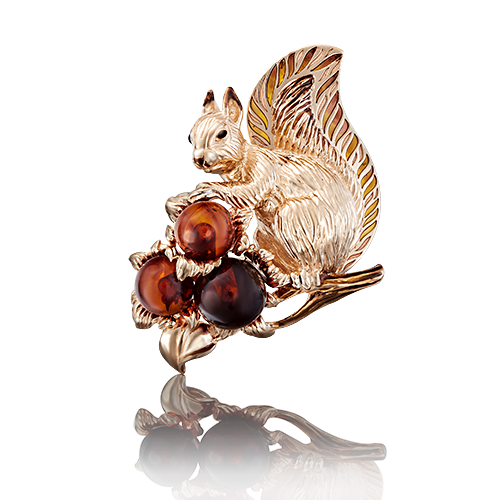 Брошь 04-0180-01-271-1110-46 с янтарем  из золота Белочка, ПЛАТИНА КОСТРОМА