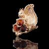 Брошь 04-0180-00-271-1110-46 с янтарем  из золота ПЛАТИНА КОСТРОМА