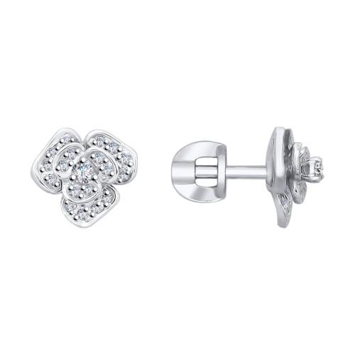 Серьги-пусеты 1021191-3 SOKOLOV из белого золота с бриллиантами