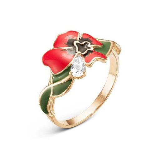 Кольцо-цветок из серебра с красной эмалью и фианитом КРАСНАЯ ПРЕСНЯ