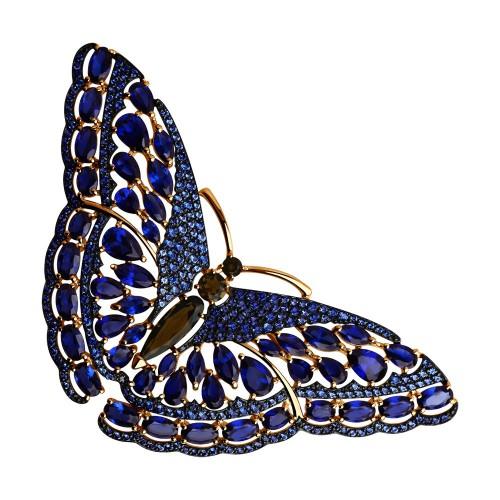 """Брошь 740157 """"Бабочка"""" из золота с сапфирами и синими фианитамиSOKOLOV"""