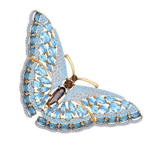 """Брошь 740150 """"Бабочка"""" из золота с топазом SOKOLOV"""