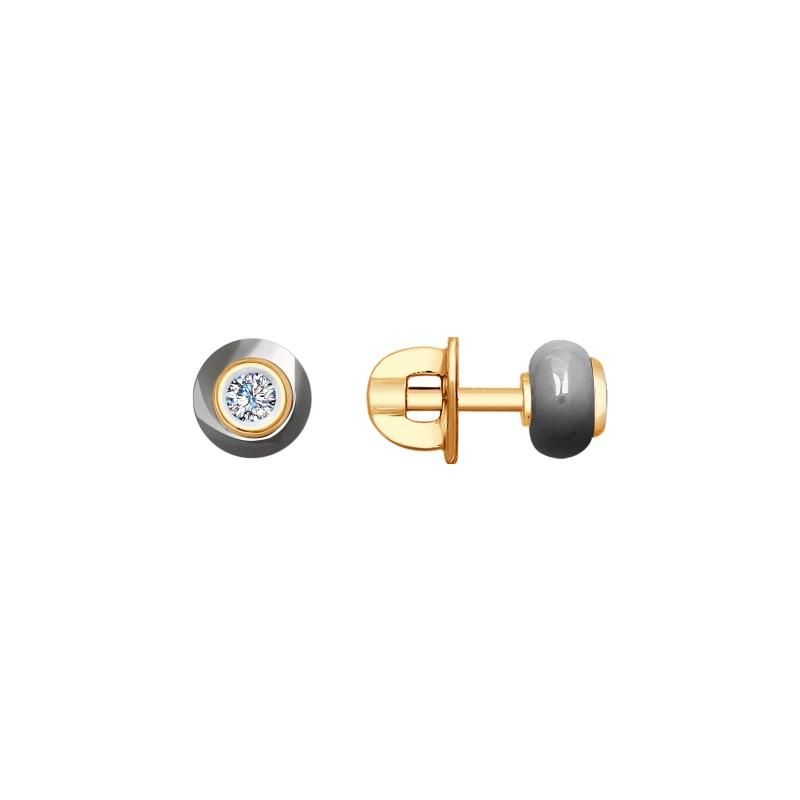 Серьги 6025082 SOKOLOV с керамической вставкой и бриллиантом