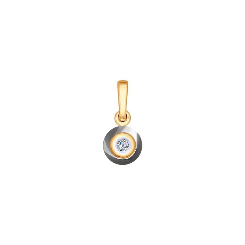 6035037 Подвеска из золота с керамикой и бриллиантом