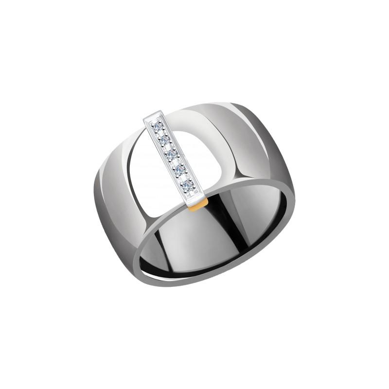 Кольцо 6015079 SOKOLOV из керамики с золотом и бриллиантом