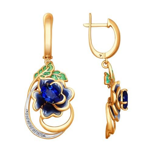 """Серьги """"Синий цветок"""" с эмалью и сапфиром из золота от SOKOLOV"""