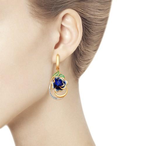 """Серьги 6029028 """"Синий цветок"""" с эмалью и сапфиром из золота от SOKOLOV"""