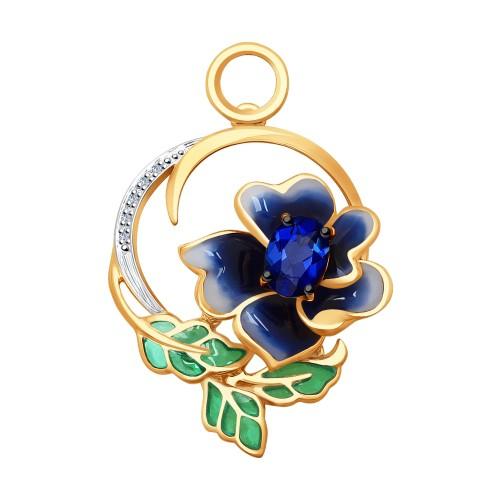 """Подвеска 6039026 """"Синий Цветок"""" с сапфиром, эмалью и бриллиантами из золота от SOKOLOV"""