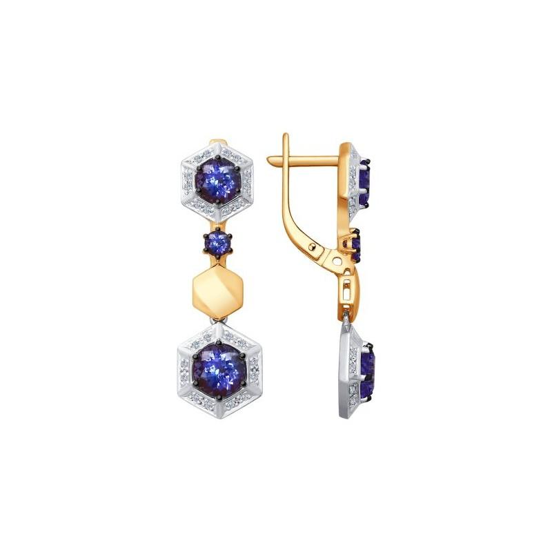 Серьги 6024053 SOKOLOV с танзанитом и бриллиантами