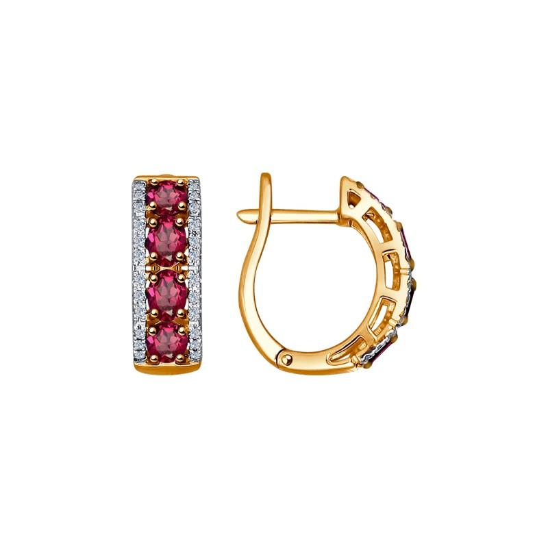 Серьги 4020385 с рубином из золота от SOKOLOV