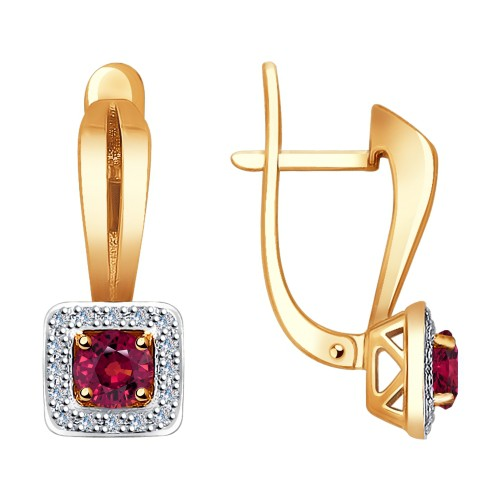 Серьги 4020387 с рубином из золота от SOKOLOV