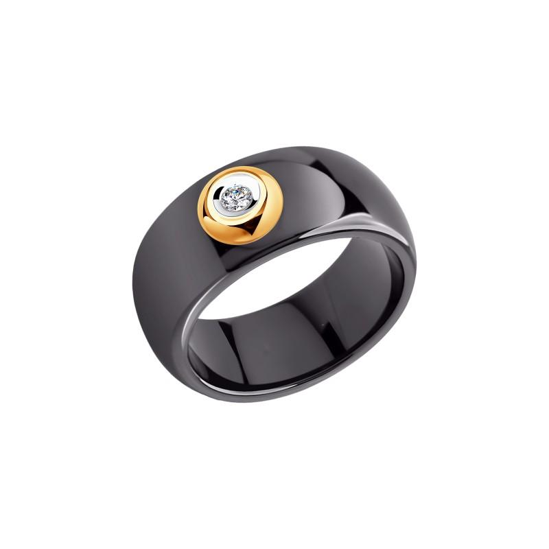 Кольцо 6015010 SOKOLOV из керамики с золотом и бриллиантом