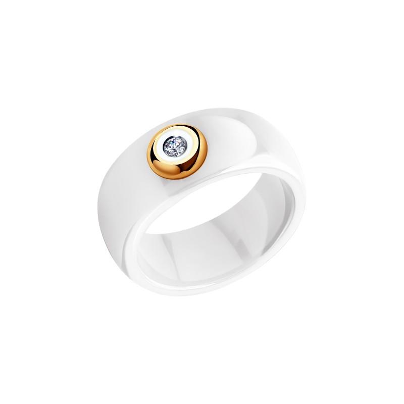 Кольцо 6015013 SOKOLOV из керамики с золотом и бриллиантом