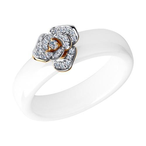 Кольцо 6015009 SOKOLOV из белой керамики с красным золотом