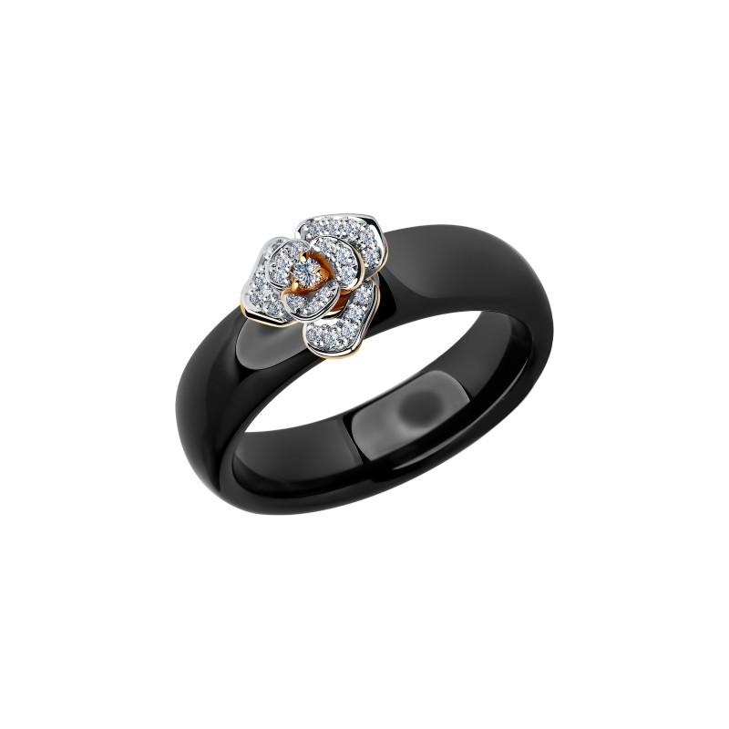 Кольцо 6015021 SOKOLOV из золота с черной керамикой