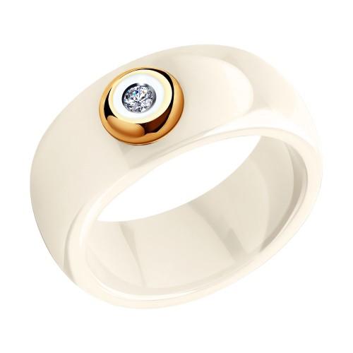 Кольцо 6015016 SOKOLOV из керамики с золотом и бриллиантом