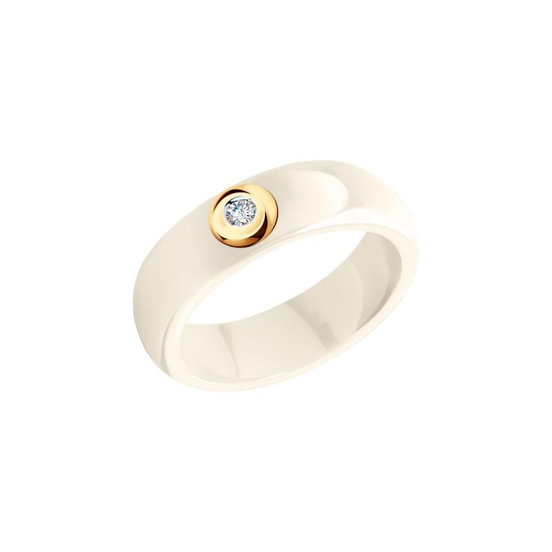 Кольцо 6015020 SOKOLOV из керамики с золотом и бриллиантом