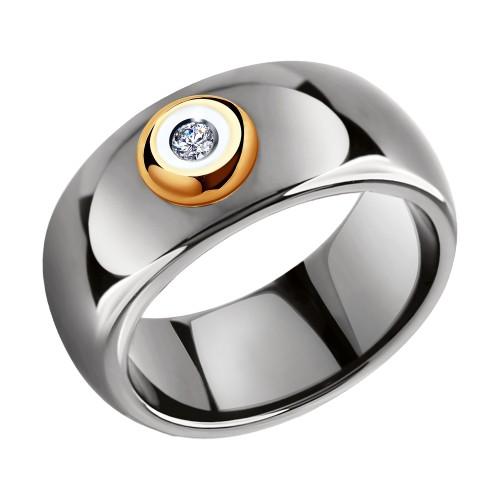 Кольцо 6015071 SOKOLOV из керамики с золотом и бриллиантом