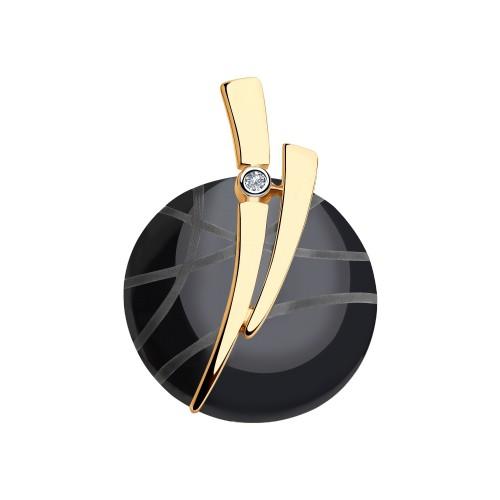 Подвеска 6035050 из золота с черной керамикой и бриллиантом
