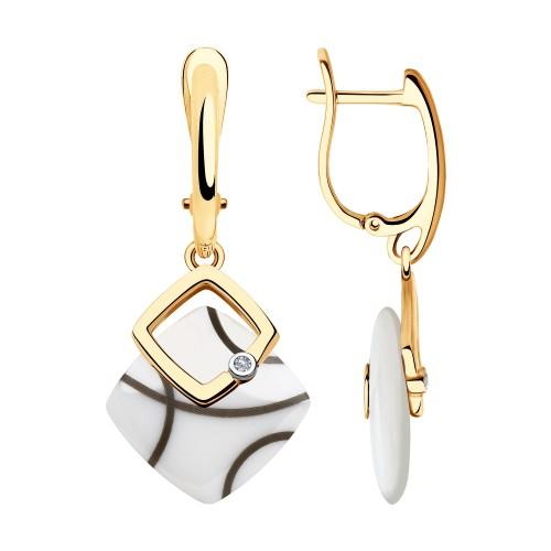 Серьги 6025109 SOKOLOV с белой керамической вставкой и бриллиантом