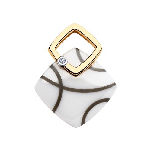 Подвеска 6035058 из золота с белой керамикой и бриллиантом