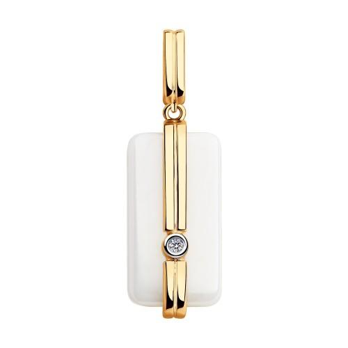 Подвеска 6035045 из золота с белой керамикой и бриллиантом