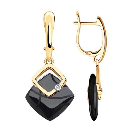 Серьги 6025105 SOKOLOV с черной керамической вставкой и бриллиантом
