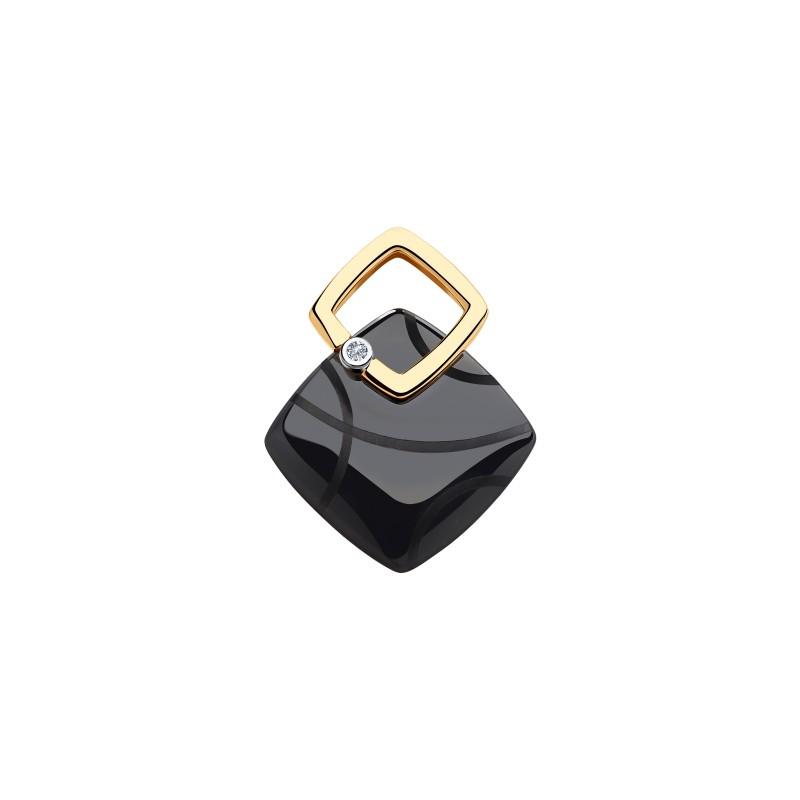 Подвеска 6035054 из золота с черной керамикой и бриллиантом