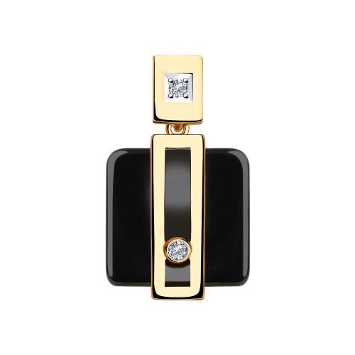 Подвеска 6035048 из золота с черной керамикой и бриллиантом