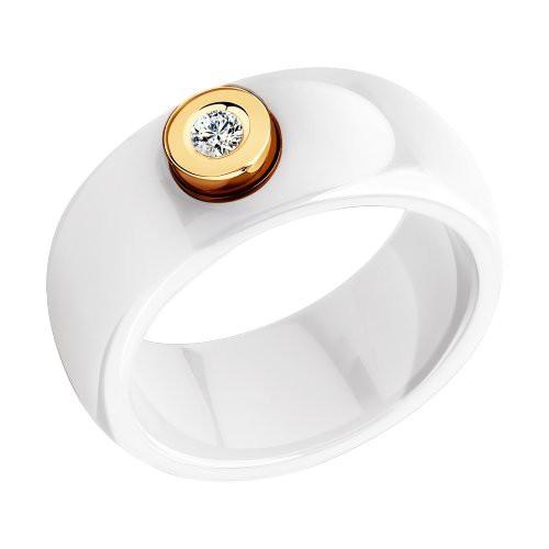 Кольцо SOKOLOV 6015003 из белой керамики с красным золотом и бриллиантом