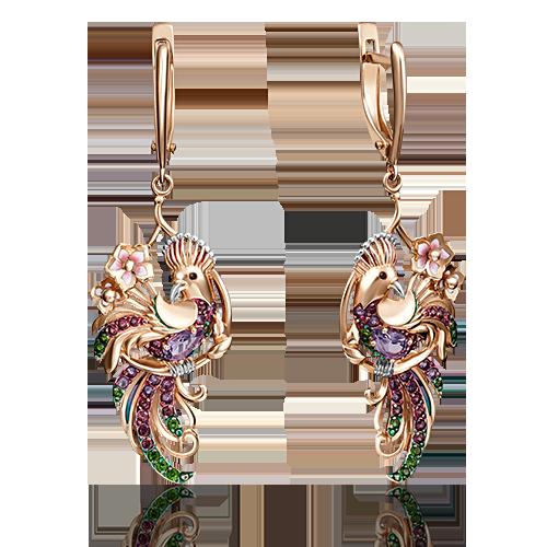 Серьги 02-4101-00-708-1110-58 из золота с цветной эмалью, ювелирный завод ПЛАТИНА