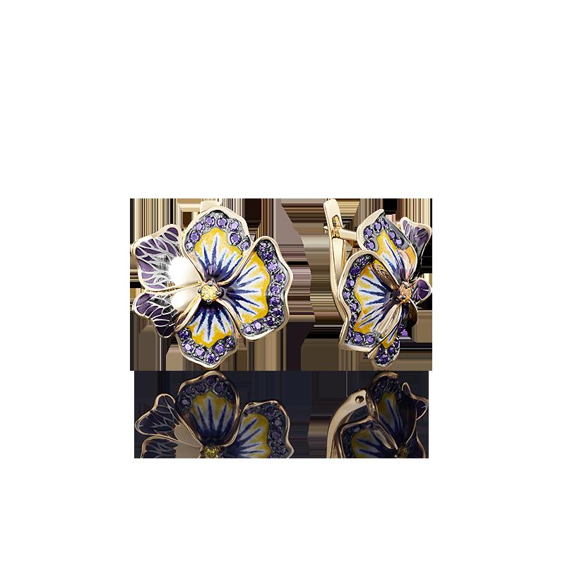 """Серьги """"Анютины глазки"""" из золота с цветной эмалью, ювелирный завод ПЛАТИНА"""
