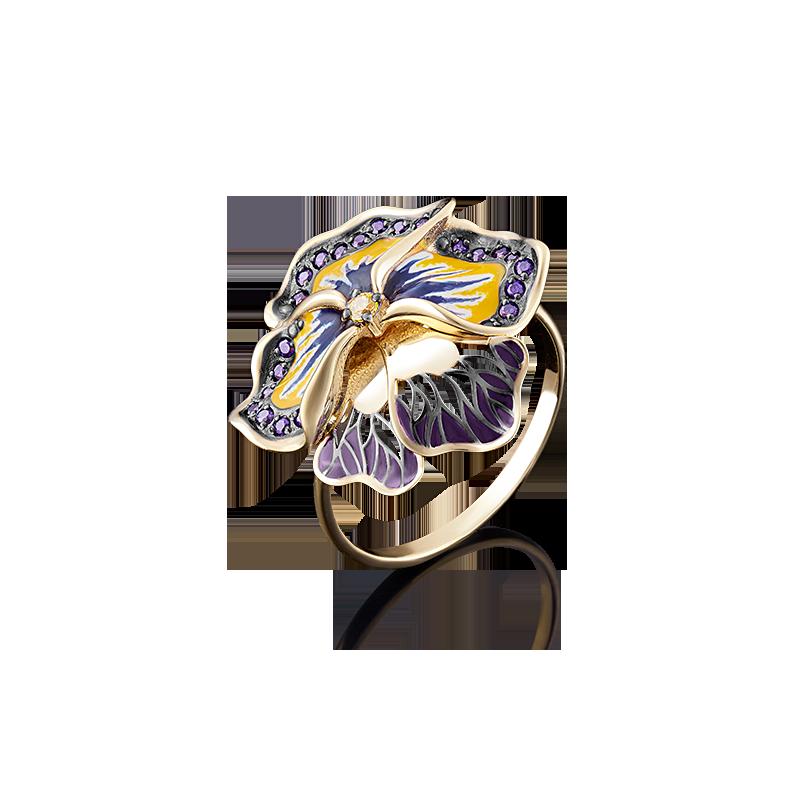 """Кольцо """"Анютины глазки"""" из золота с цветной эмалью, ювелирный завод ПЛАТИНА"""