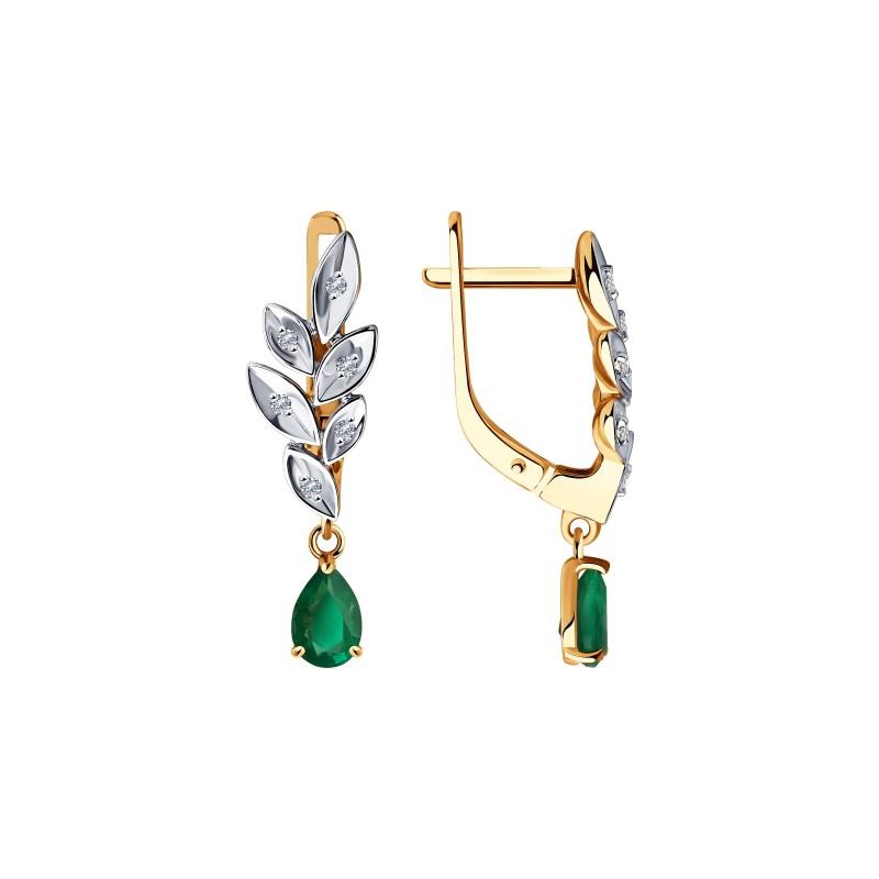 Серьги  51-221-00577-1 из золота с изумрудом и бриллиантами DIAMANT