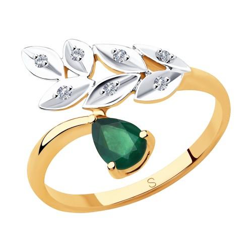 Кольцо 51-210-00577-1 из золота с изумрудом и бриллиантами DIAMANT