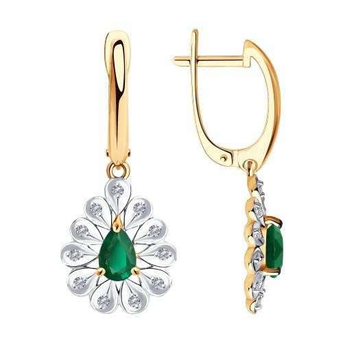 Серьги  51-221-00598-2 из золота с изумрудом и бриллиантами DIAMANT