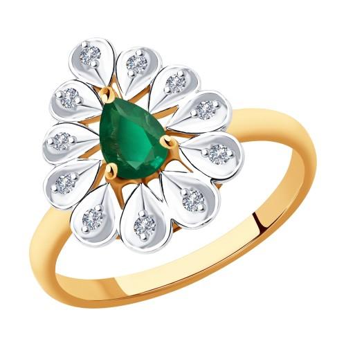 Кольцо 51-210-00598-2 из золота с изумрудом и бриллиантами DIAMANT