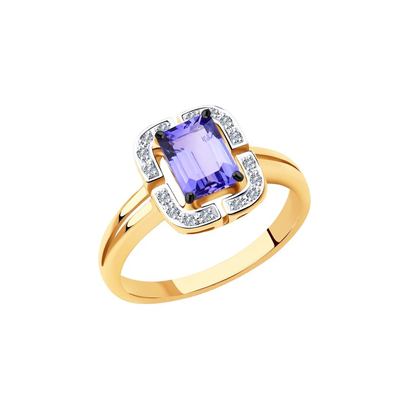 Кольцо 6014120 SOKOLOV с танзанитом и бриллиантами