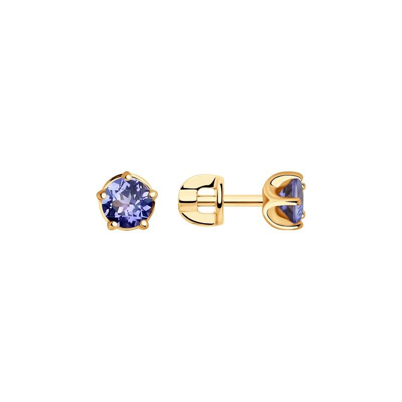 Серьги 6024138 SOKOLOV пусеты с танзанитом и бриллиантами