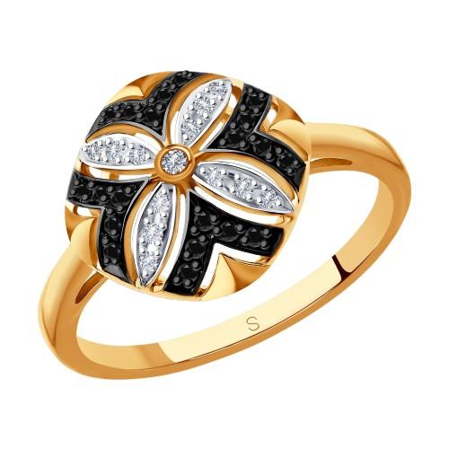 Кольцо 7010048 SOKOLOV с черными и бесцветными бриллиантами