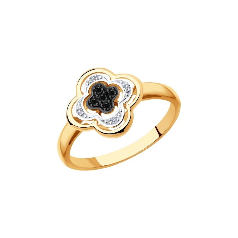 Кольцо 7010060 SOKOLOV с черными и бесцветными бриллиантами