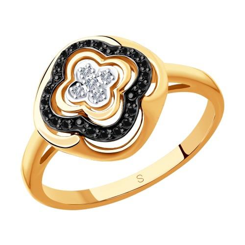 Кольцо 7010047 SOKOLOV с черными и бесцветными бриллиантами