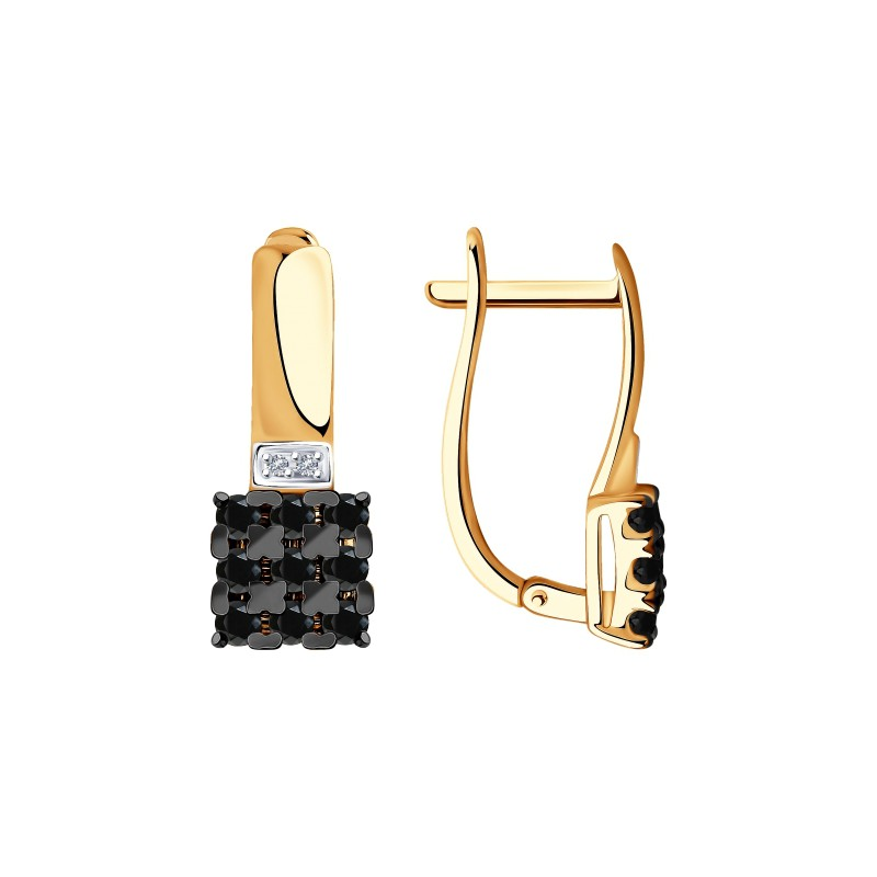 Серьги 7020067 из золота с черными и бесцветными бриллиантами SOKOLOV