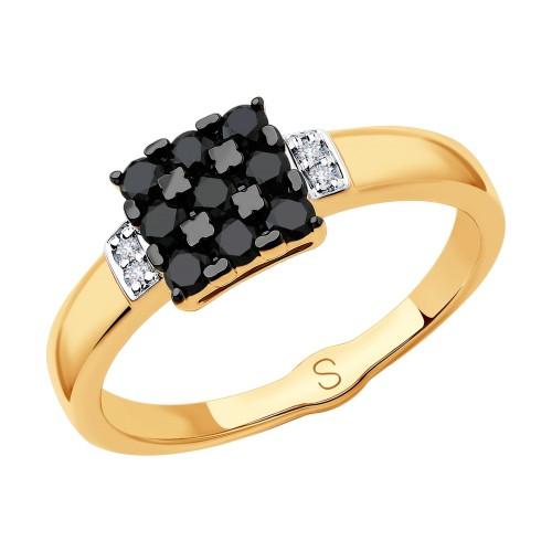 Кольцо 7010049 SOKOLOV с черными и бесцветными бриллиантами